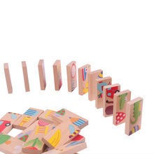 28 Piecs Kids Wooden Cartoon Animal Colorful Dominoes Puzzles Montessori Educational Baby Toys Christmas Birthday Gifts P15(China)