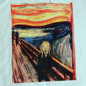 Edvard Munch Painting cotton fabric patchwork Scrapbooking for Purse /mat home Decorative painting The Scream DIY Sewing Patch(China)