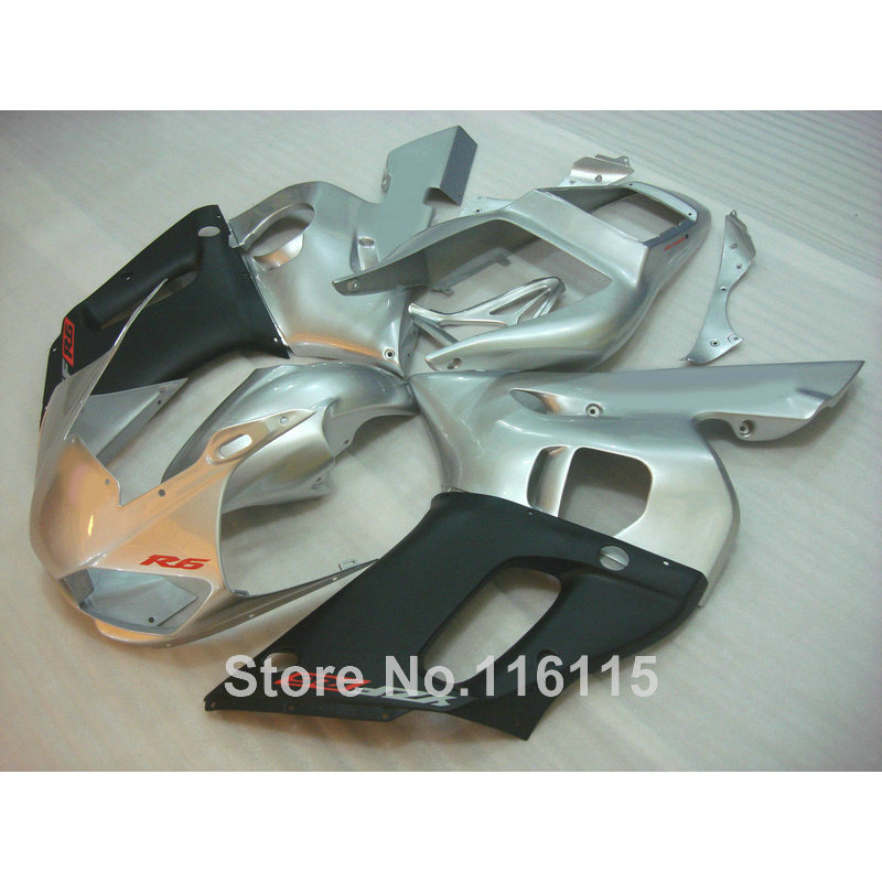 High quality ABS fairing kit for YAMAHA R6 1998 1999 2000 2001 2002 YZF-R6 YZF R6 98-02 silver matte black fairings set NX18