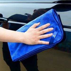 Image 2 - Serviettes en microfibre pour voiture, 1 pièce, chiffon épais en peluche pour nettoyage et séchage