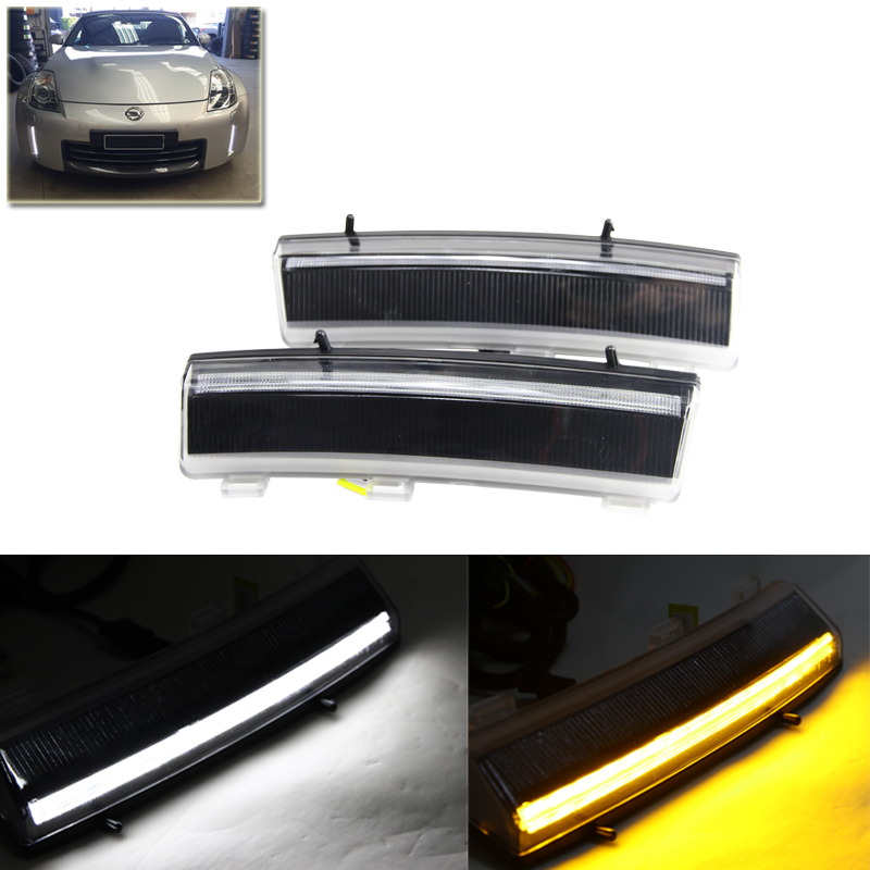Switchback Led Front Bumper Reflector Led Daytime Running Light For Nissan LCI 350Z 06-09 Car-Styling Auto Car Driving Fog Lamps direct fit for nissan 350z pre lci led daytime running lights 7 led xenon white drl driving fog lamps daylights car styling