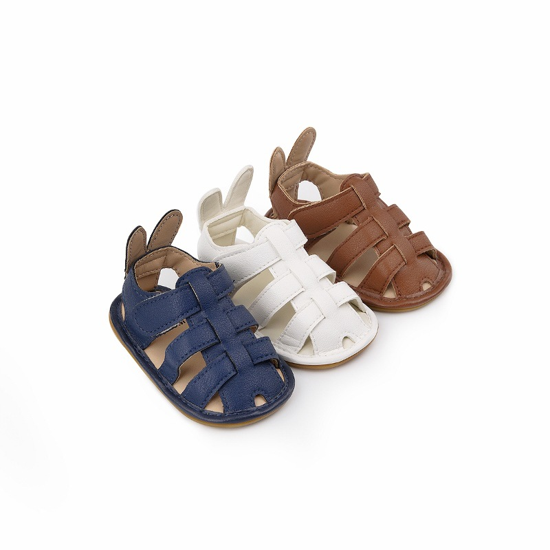 2021 Summer Baby Boys Sandals Rubber Soft Infant Toddler Leather Clogs Baby Moccasins  Newborn Sandals Solid Color