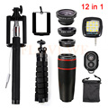 12in1 8x Zoom Teleobjetivo Lentes de ojo de Pez de Gran Angular Macro Trípode Clips selfie flash de luz para iphone 5 5s 6 6 s 7 plus xiaomi