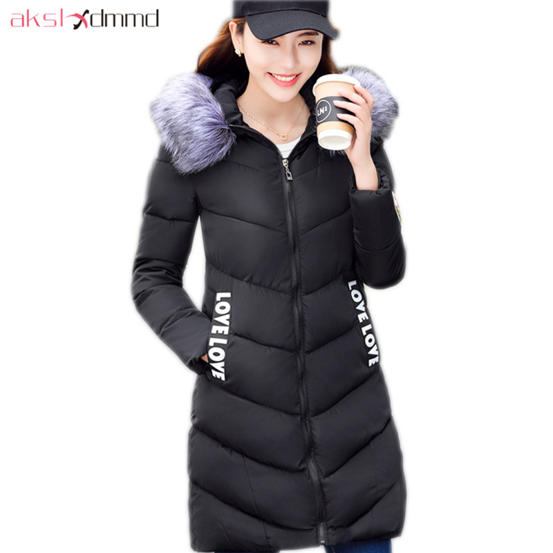 AKSLXDMMD Fur Hooded Cotton Coat Female 2017 New Parkas Mujer Thick Slim Mid-long Winter Jacket Women Letters Overcoat LH1225 akslxdmmd parkas mujer 2017 new winter women jacket fur collar hooded printed fashion thick padded long coat female lh1077