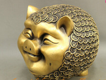 "002406 9"" Folk Chinese Bronze Lucky Wealth Coin Year Zodiac Happy Pig Statue Money-Box(China)"