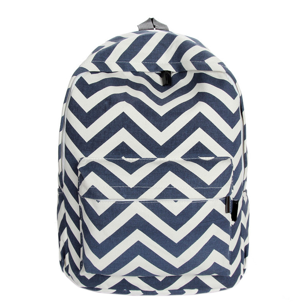 Canvas Girl School Bag Wave Stripe Print Teen Travel Backpack Zipper Double shoulder Women Satchel Carrier Rucksack for Student