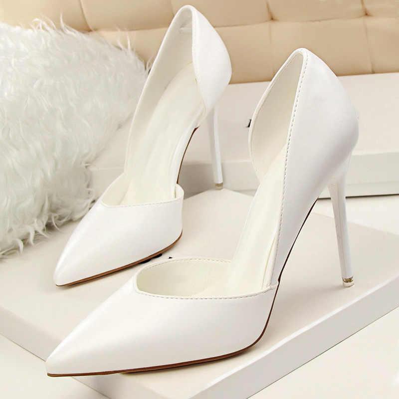 BIGTREE Katı Kadın Pompaları Ince Topuklu Ayakkabılar Seksi Yüksek Topuklu Sivri Burun Moda Düğün Ayakkabı Kadın Yaz Ayakkabı Ayakkabı Kadın