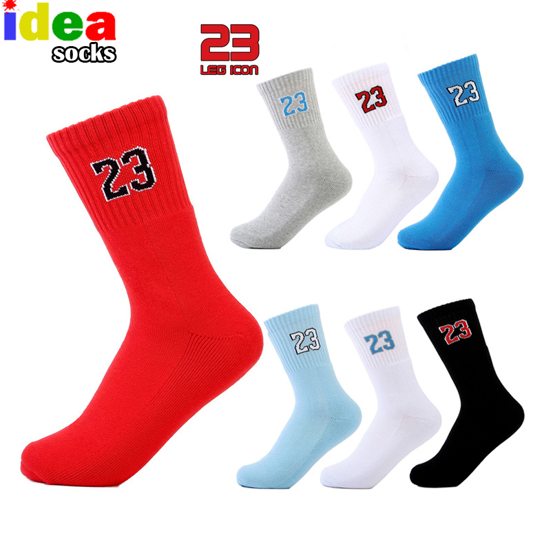High Quality Brand Men's NO.23 Professional Men Basket Socks Elite Thick Red Socks Male Breathable Embroider Sock