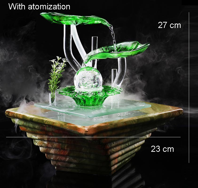 Ceramic Water Fountain Tabletop Atomizer Lucky Crystal Ball Water Features  Glass Plant Air Humidifier LED Feng Shui Home Decor In Figurines U0026  Miniatures ...