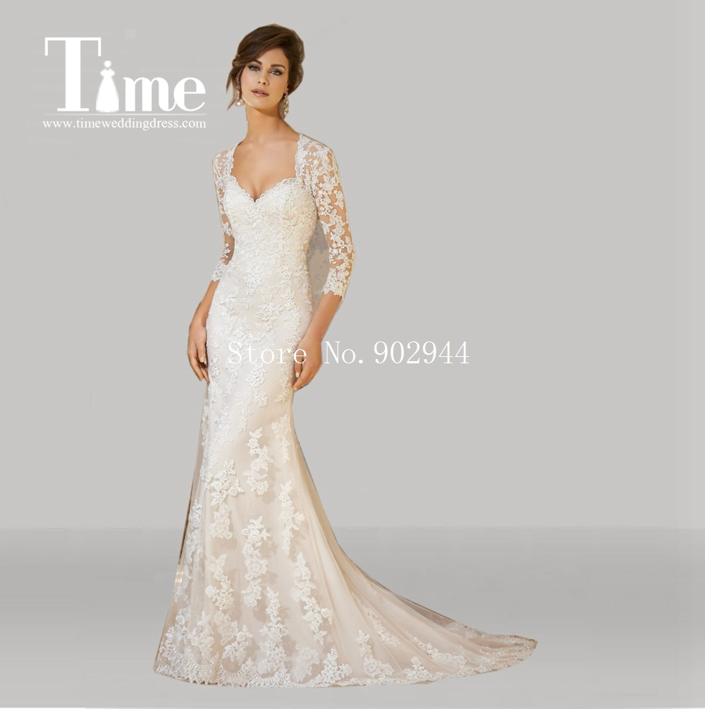 Heart shaped backless wedding dresses 2015 lace v neck for Lace sleeve backless wedding dress