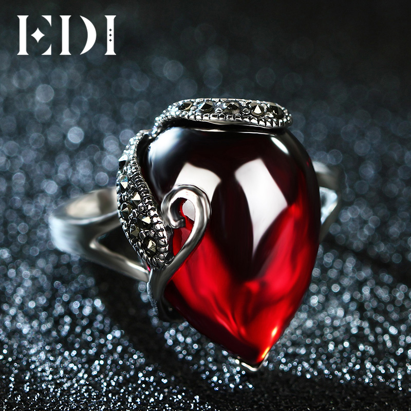 EDI Vintage 100% 925 Sterling Silver Gemstone Garnet Rings For Women Jewelry Accessories Girlfriend Gift edi trendy swan shape animal 100% 925 sterling silver rings for women ctue jewelry christmas gifts