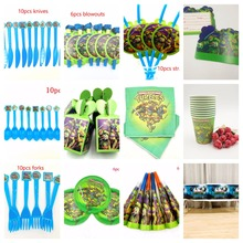 все цены на Teenage Mutant Ninja Turtles cups Straw Candy box Cartoon Kids Boys Baby Birthday Tableware Party Supplies Party Decoration Set онлайн