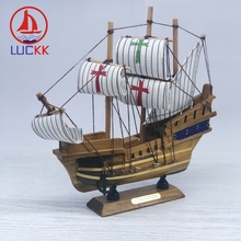 LUCKK 20CM Handmade Retro SantaMaria Ships Model Natural Home Interior Decor Wood Crafts Vintage Cannon Room SailBoat Ornaments