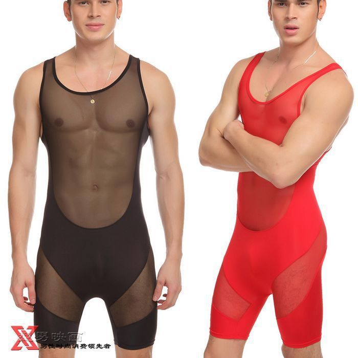 NEW JQK Men Sexy Transparent Vest Mesh Gauze Suspender Wrestling Singlet Men Sexy Pajamas M L XL Free Shipping
