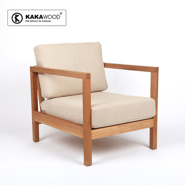 Kakawood Pure Elm Wood Furniture Sofa Armchair Wood Sofa Chair