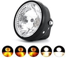 7 Clear LED Motorcycle Headlight Halogen Angel Eye Turn Signal Light Indicators Blinker for Honda Harley Kawasaki Yamaha Suzuki