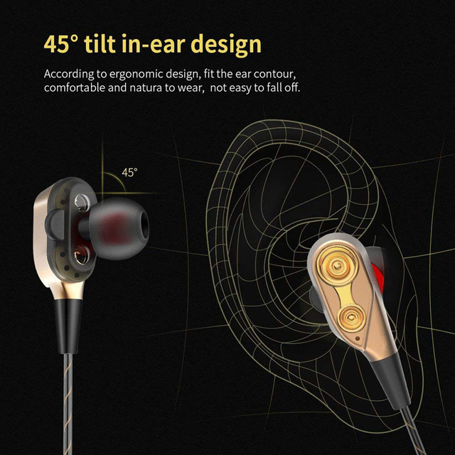 Fashion Dual Drivers Earphone High Bass Stereo Earphones Lightweight Sport Wired headphones 3.5mm For all Smartphones