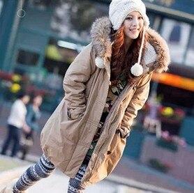 Free Shipping Winter Korean Thick Warm Lamb Wool Coat Fur Collar Hood Army Green Jacket Women Raccoon Cotton-Padded Coat D1088 thickening warm fur collar winter coat new 2016 women clothes lamb wool jacket hooded parka army green overcoat xl a3878