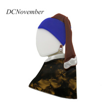 Vintage The Girl With a Pearl Earring Brooch Acrylic Brooches Environmental Acetate Pins Accessory DCNovember