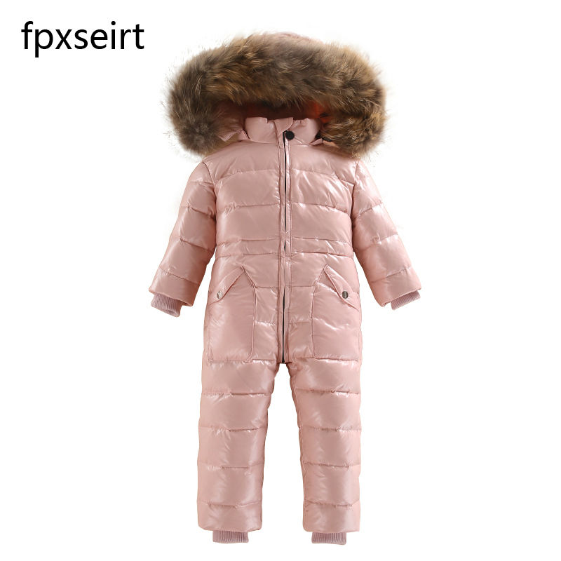 New 2017 Russia winter  Boys Clothing Waterproof Down Warm Jacket  For Girls Kids 7 Color Thick Jumpsuit Coats  White Duck Down new 2017 russia winter boys clothing warm jacket for kids thick coats high quality overalls for boy down