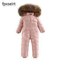 New 2018 Russia winter Boys Clothing Waterproof Down Warm Jacket For Girls Kids 7 Color Thick Jumpsuit Coats White Duck Down