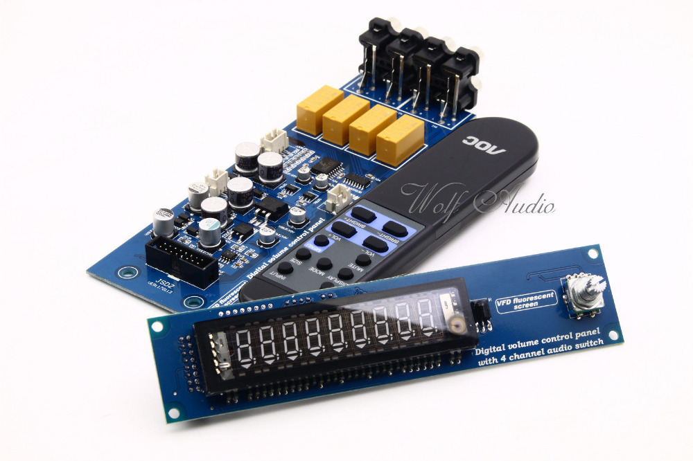 PGA2311U Remote Preamplifier Board With VFD Display 4-way Input HiFi Preamp Remote Control Digital Volume Control Board cs3310 remote preamplifier board with vfd display 4 way input hifi preamp remote control digital volume control board page 9