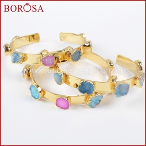Image 3 - BOROSA Mix Farben tiny druzy armreif bunte 7 steine Kristall druzy armband armreif mode schmuck edelsteine für frauen G1098