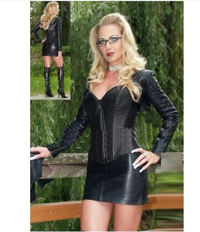 Sexy Lingerie Women Latex Catsuit Faux Leather Front Zipper Crotch 2017 Bodysuit Fetish Costumes Erotic