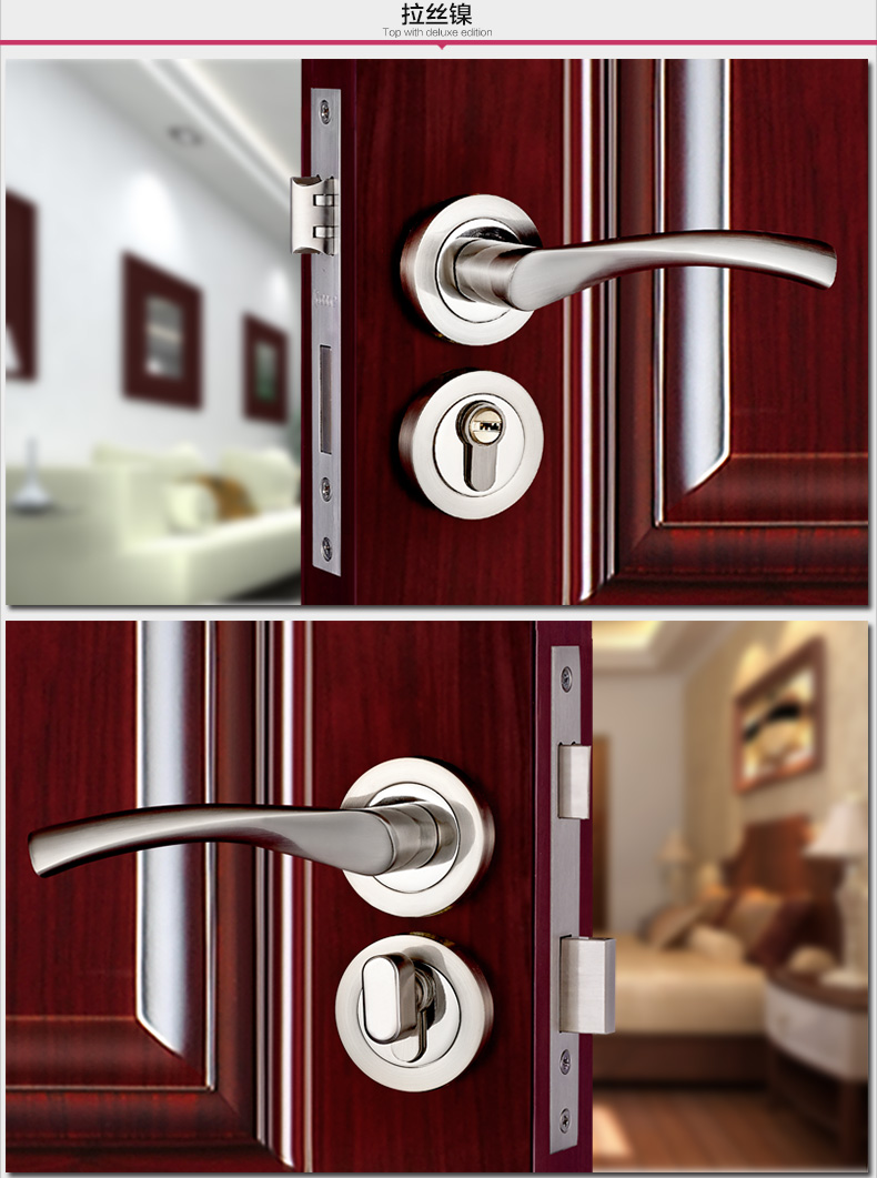 Free Shipping  Furniture hardware Quality Door lock Double lock tongue Metal Modern Home gate locks With keys Handle with lock triple metal double gate tm dg mosfet