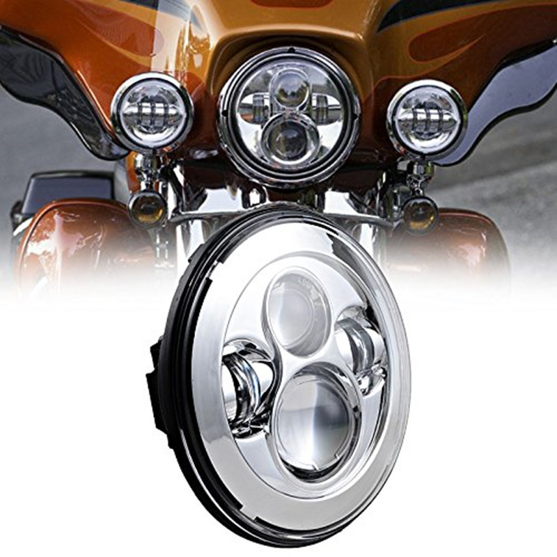 Black / Chrome Round 7 Inch Led Motorcycle Headlight For Motorcycle Headlamp Motorbike Driving Light With DOT Certificate