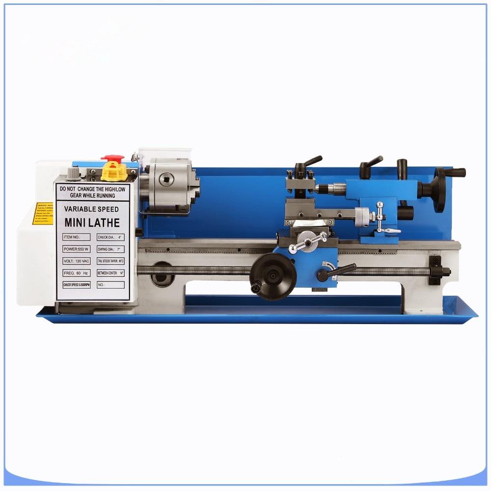 550 w di Precisione Mini Tornio Metallo Lavorazione Dei Metalli Da Banco Variabile Velocità di Lettura