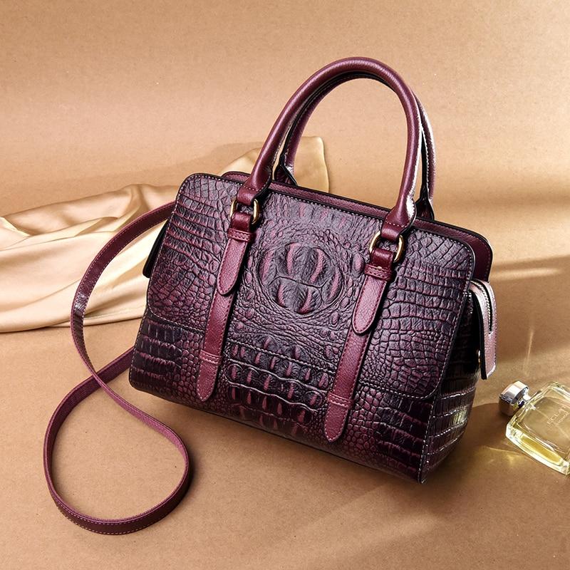 Yonder women handbag female shoulder bags high quality genuine leather tote bag crocodile pattern ladies messenger