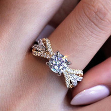 Новинка! дизайн! кольца для помолвки с кристаллами, кубическим серебром, женские роскошные Двухцветные обручальные кольца с цирконием