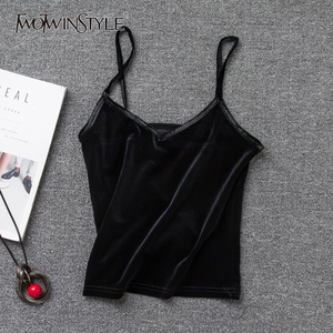 TWOTWINSTYLE Velvet Spaghetti Strap T-Shirt Women V Neck Sexy Tank Vest Tops Female Sleeveless Basic T-shirts Large Size Summer