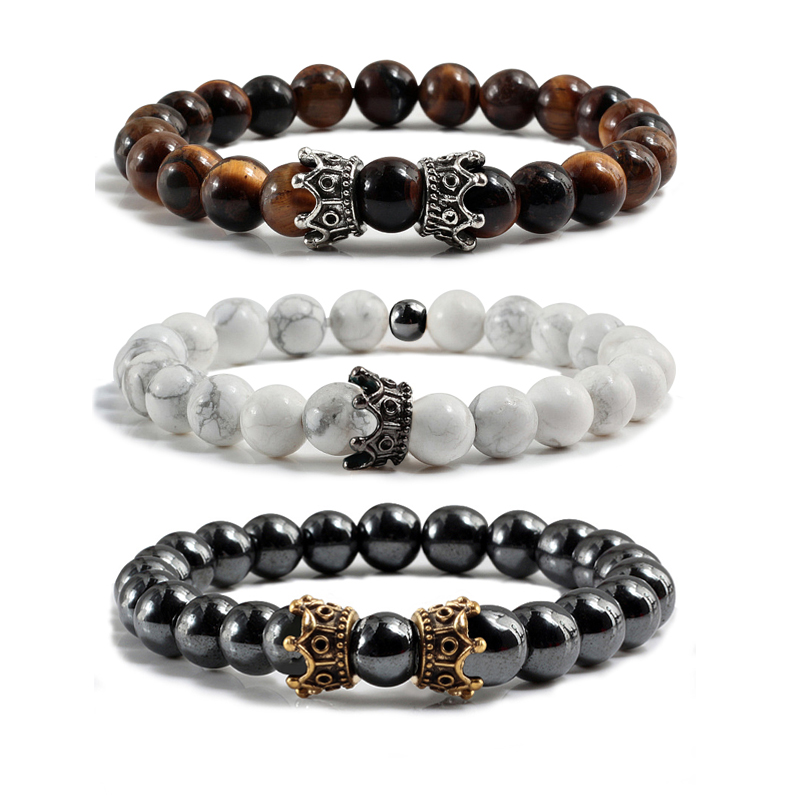Bracelets & Bangles Hematite Tiger Eye Stone Beads Strand Bracelet White Black Gallstone Turquoises Crown Charms Bracelets Bangles Men Ms Jewelry Ideal Gift For All Occasions Strand Bracelets