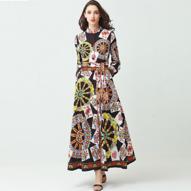 40c75dc65b9 2018 new designer fashion runway Maxi dress Women long sleeve pattern High  Split Belt Playing cards Printed Vintage Long Dress