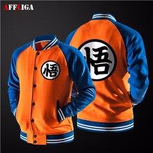 Nueva Japanese Anime Dragon Ball Goku Varsity Jacket 2017 primavera marca Informal Suéter Con Capucha de Marca de Chaqueta de Abrigo Chaqueta de Béisbol