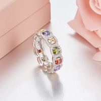 Luxury Brand 100 925 Sterling Silver Fashion Big Zircon Rings For Women Colorful Cz Stones Elegant