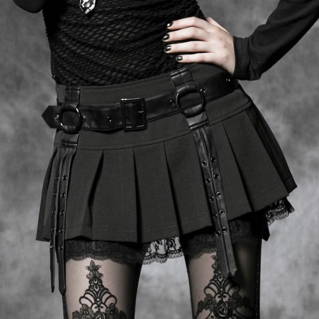 abbc41e859 PUNK RAVE 2017 nuevo estilo Gótico sexy mini faldas para mujer de encaje negro  falda plisada