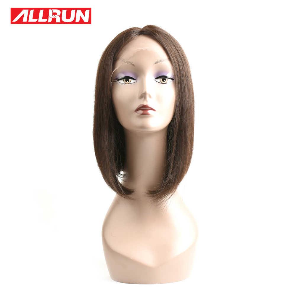 ALLRUN кружево спереди 100% человеческие волосы боб парик прямые волосы европейского типа 12 дюймов Короткие парики натуральный черный не Реми бесплатная доставка