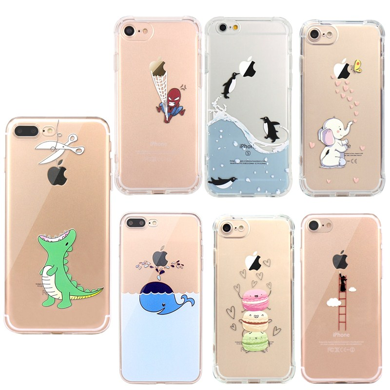 Cute Dinosaur Silicon Soft TPU For coque iphone 7 Phone Case for Apple iphone 5 5S