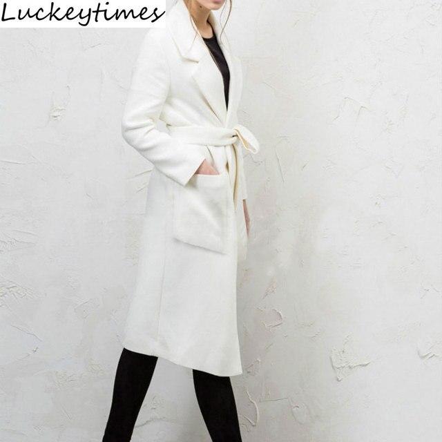 2016 Горячие Продаж Длинные Белые Два Кармана Шерсть Женщин Пальто Мода тонкий Одной Кнопки Дамы Шерстяные Пальто Плюс Размер S, чтобы XXL