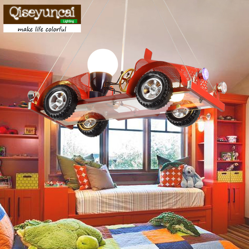 Qiseyuncai new car childrens room chandelier Creative personality clothing shop decoration lamp Boy room bedroom lamps