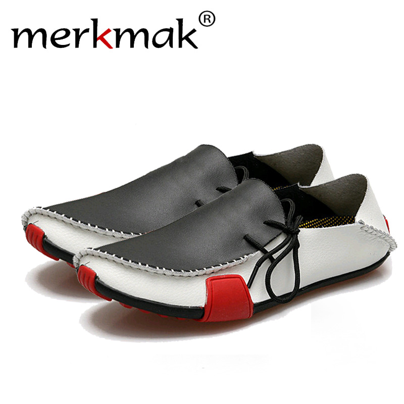 Merkmak Casual Genuine Leather Men Shoes Fashion Comfortable Slip On Men Flats Loafers Moccasins Famous Brand Big Size 39-47 british slip on men loafers genuine leather men shoes luxury brand soft boat driving shoes comfortable men flats moccasins 2a