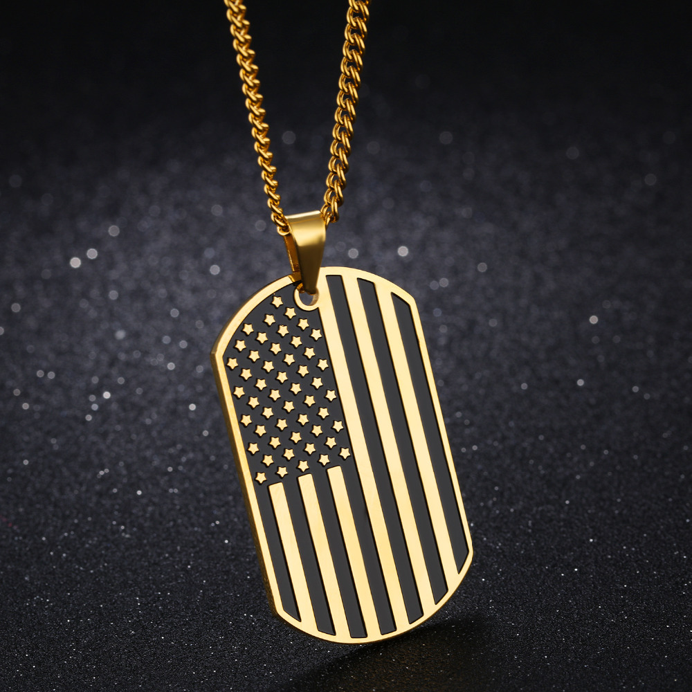 men colored u flag usa american cross mens stainless a john necklace s tapered steel