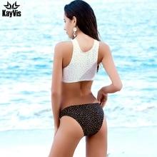 KayVis 2019 Sexy High Neck Bikini Swimwear Women Swimsuit Bandage Crop Top Push Up Brazilian Bikini Set Letter Bathing Suits
