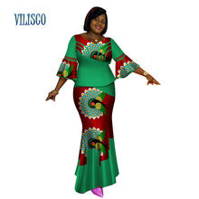 Bazin Riche African Tops and Skirt Sets for Women Print Dashiki Traditional 2 Piece Splice Clothing WY2627