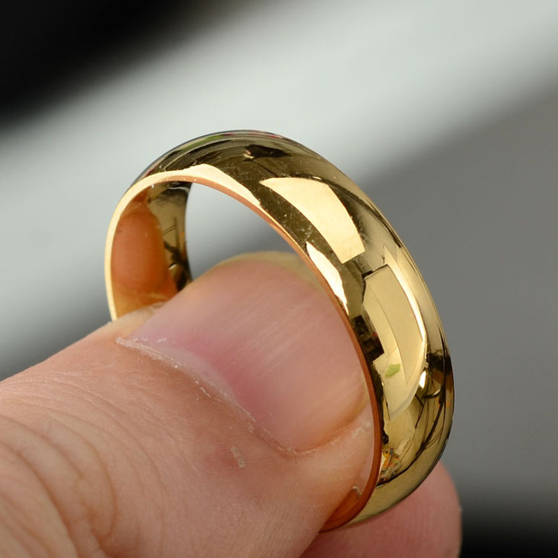 Gold Color Simple Circle Round Ring Real Love Couple Engagement Wedding Rings for Women Men Fashion Jewelry Size 17-21