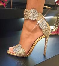 Sexy Gold Bling Glitter High Heel Sandals Women Summer Open Toe Big Ankle Strap Gladiator Shoes 2019 Lady