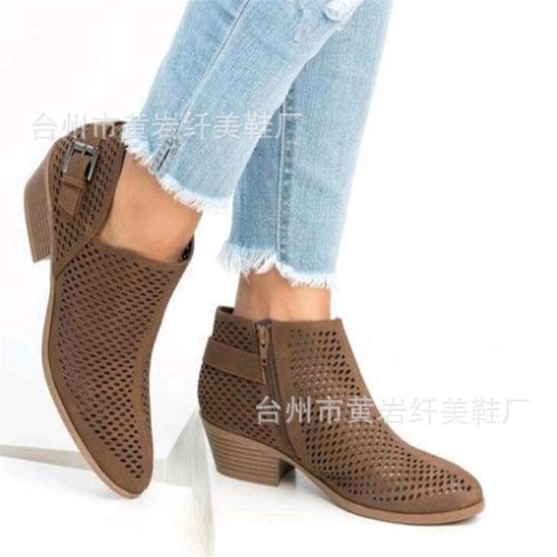 Negro marrón 2019 Suave De Bajo Primavera Mujer gris Botas Zapatos Tacón Transpirables Slip Huecos Cuero Verano En Tobillo aZ1wrSaqx